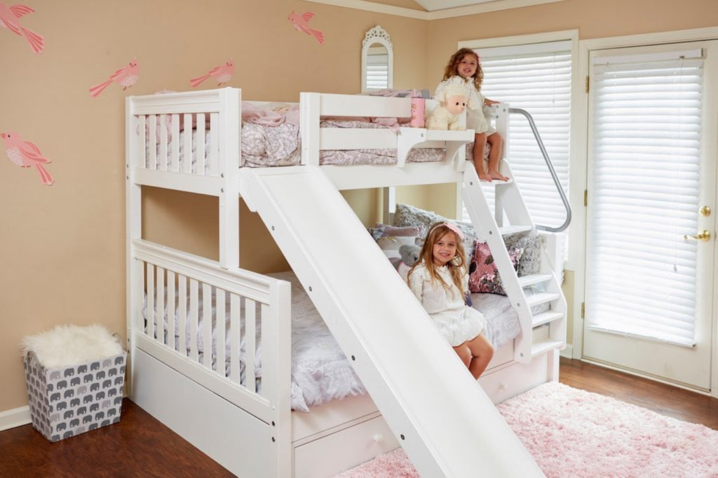 white twin over full bunk beds with slides