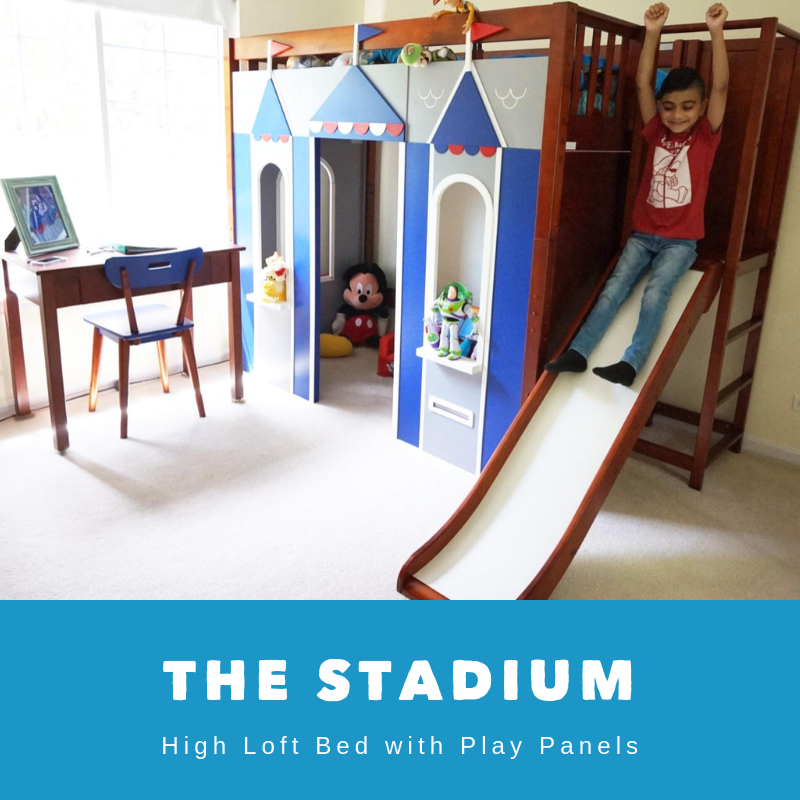 high loft bed with slide platform and castle play panels