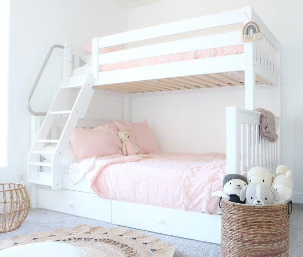 White Twin over Full Bunk Bed for Girls