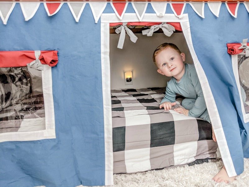 dark brown bed with curtains for boys room