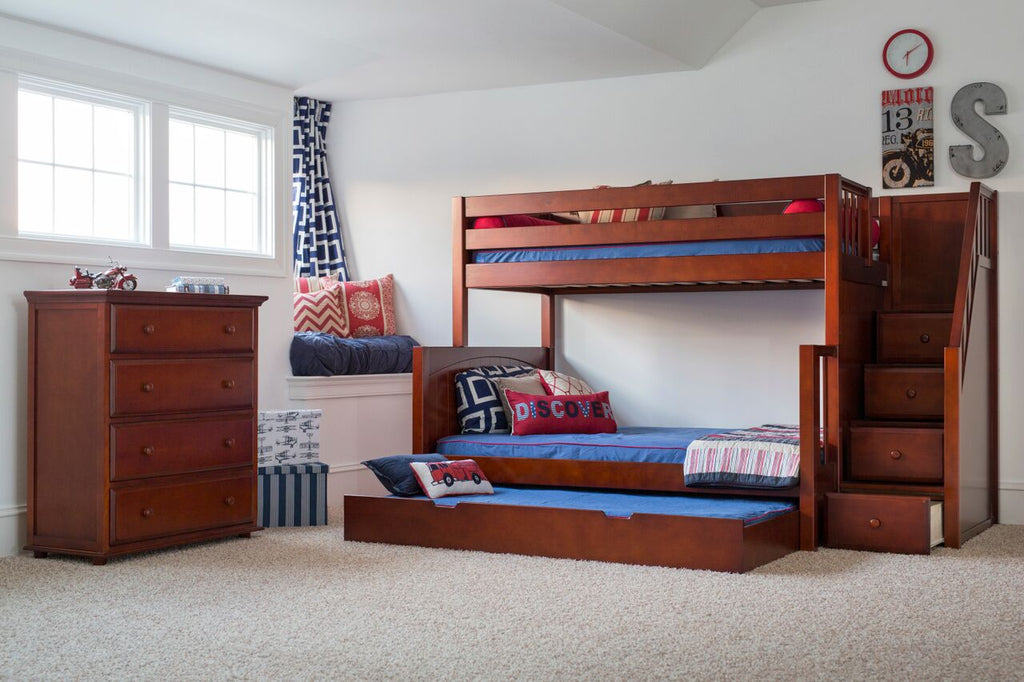 dark brown wood twin over full bunk bed with stairs