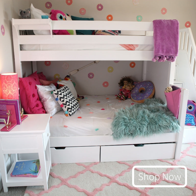 White Twin over Full Bunk Bed with Staircase