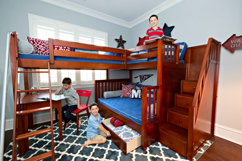 triple bunk bed with desk