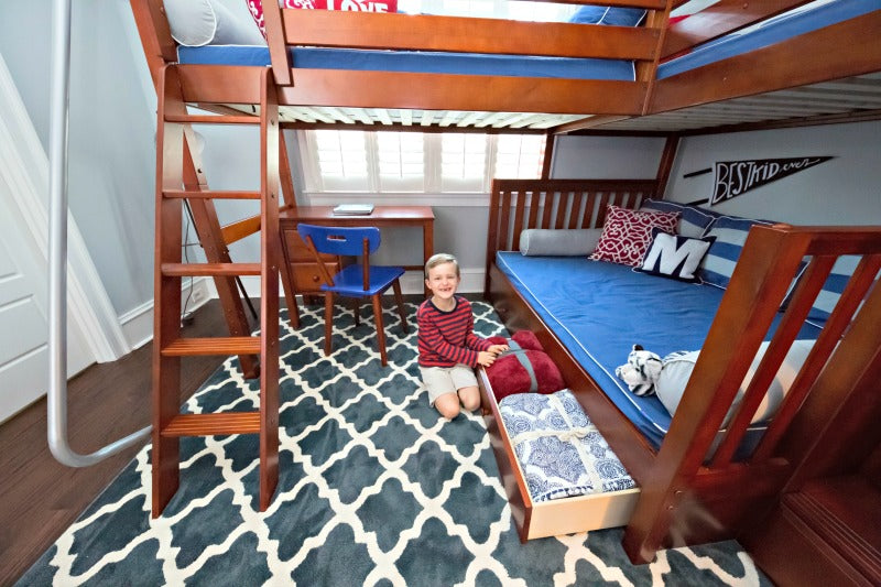 desk and underbed storage for triple bunk bed