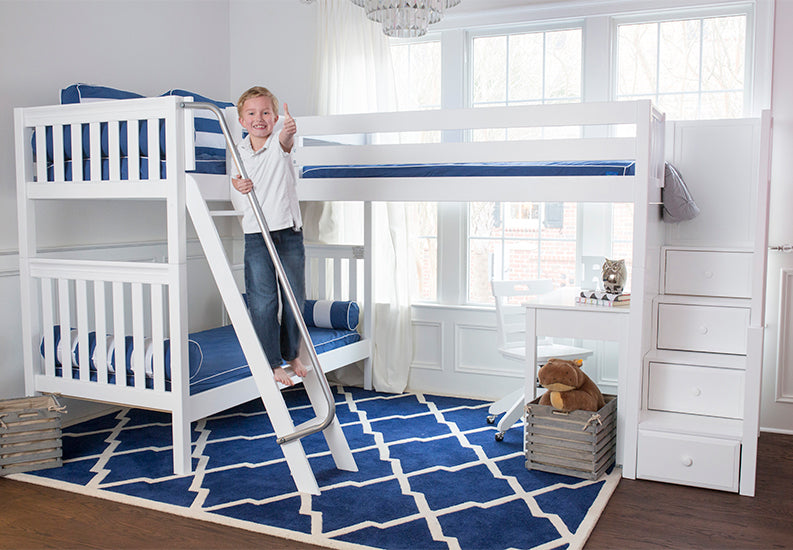 triple corner bunk bed with stairs