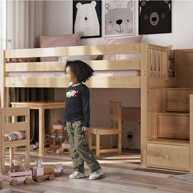 A Low Loft Bed With Stairs That Delivers Maxtrix Kids