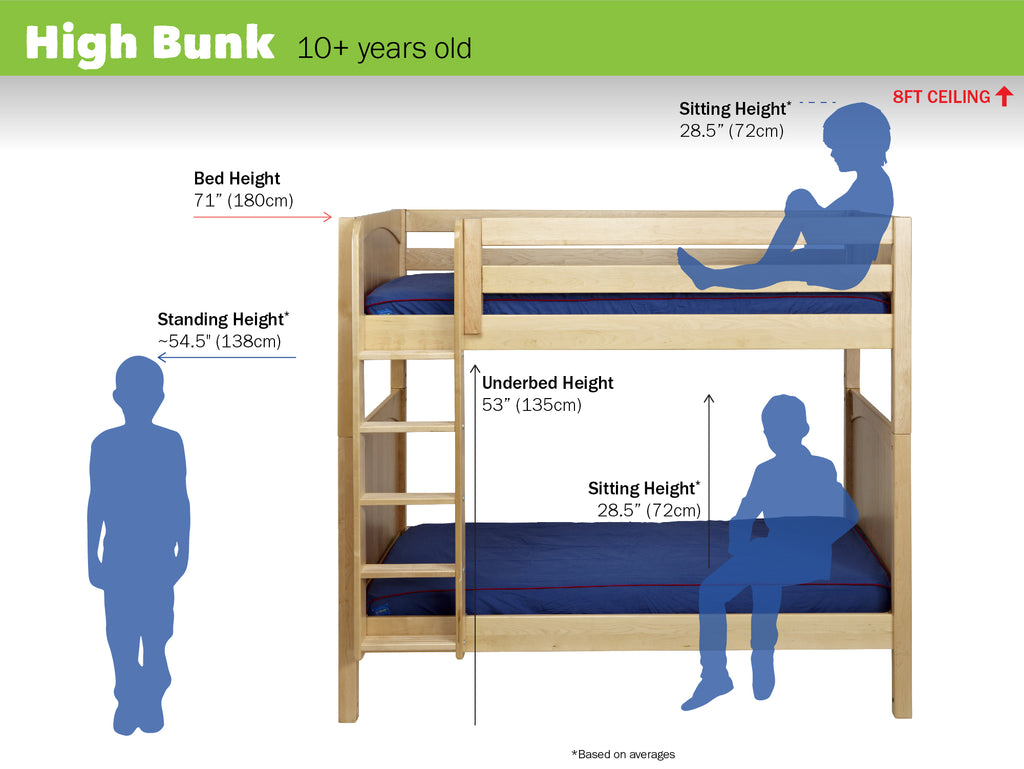 high bunk bed heights