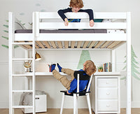 boys on loft bed with desk