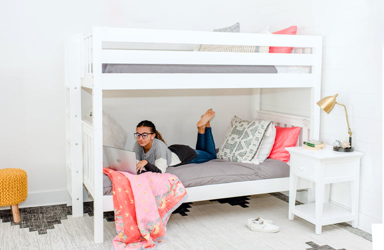 white twin bunk beds