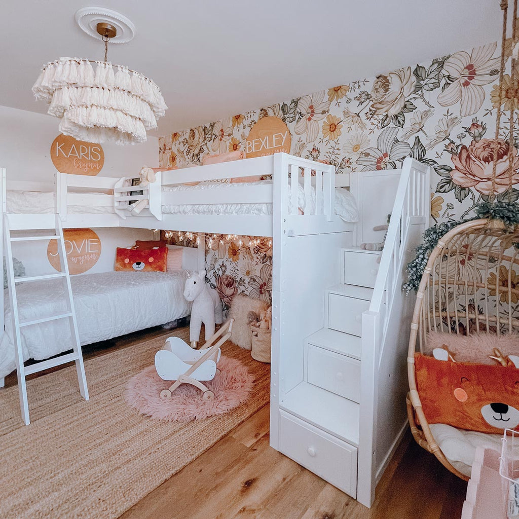 white triple bunk bed for girls room