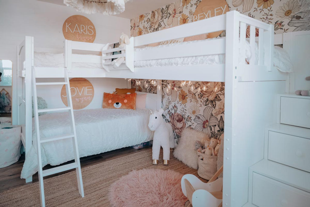 best triple corner bed for kids girls room