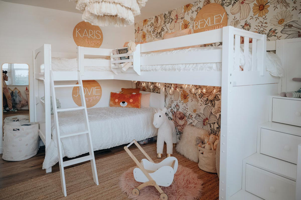 triple corner bunk bed with stairs girls room