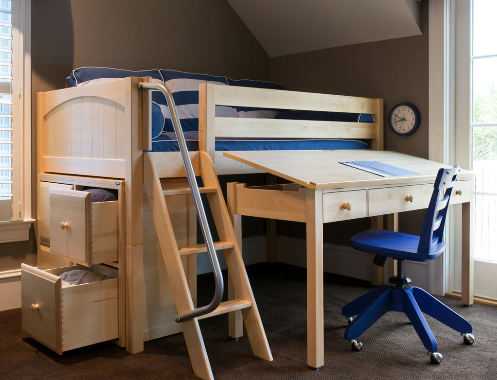boys bed with desk and storage
