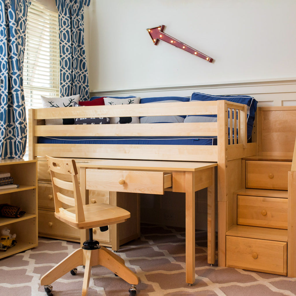 low loft bed natural wood with stairs and desk
