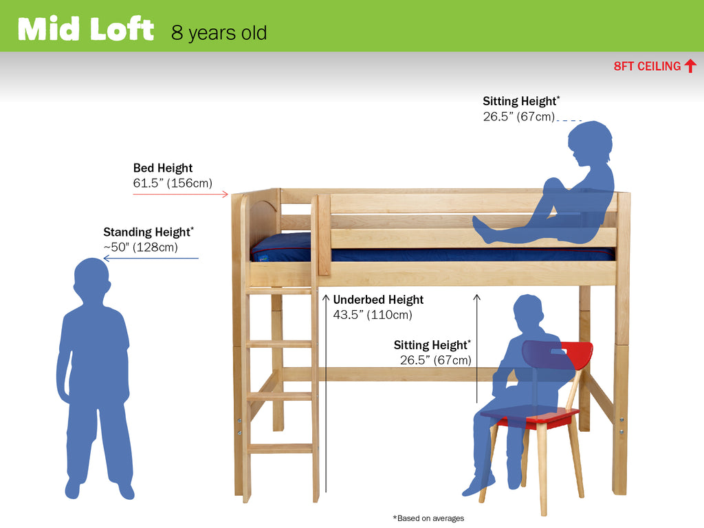 medium mid loft bed dimensions