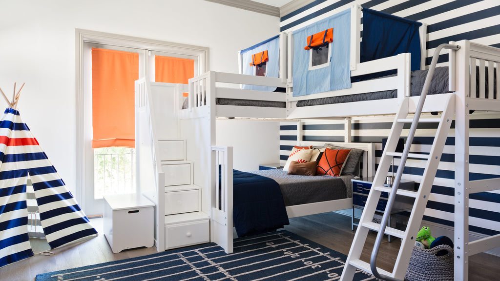 unique kids beds triple corner bunk bed