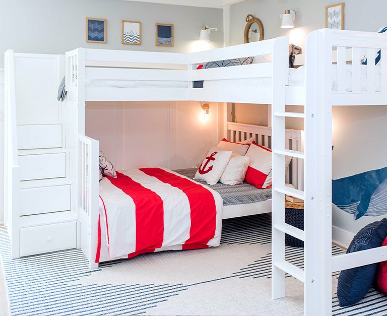 twin over full triple corner bunk bed with stairs