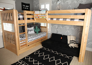 Corner triple bunk bed in natural with ladder