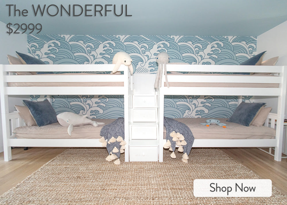 low quadruple bunk bed sleeps four boys room