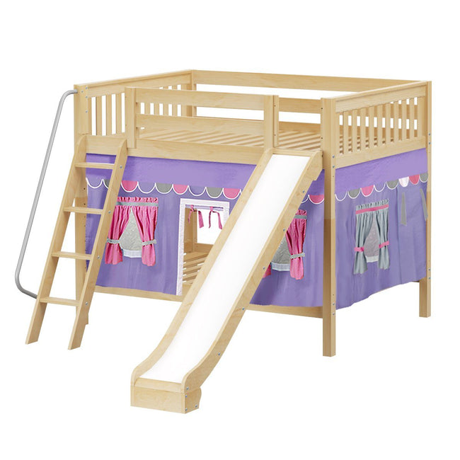 Full Medium Bunk Bed with Angled Ladder, Curtain + Slide