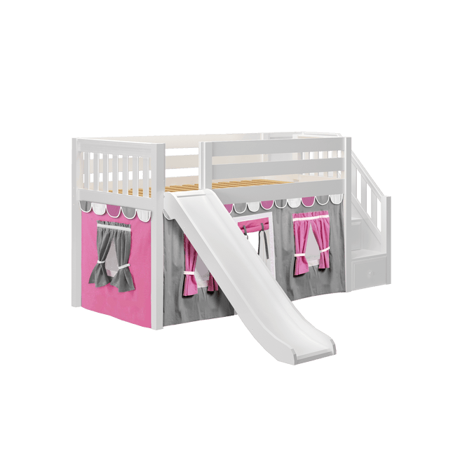 Twin Low Loft Bed with Stairs, Curtain + Slide