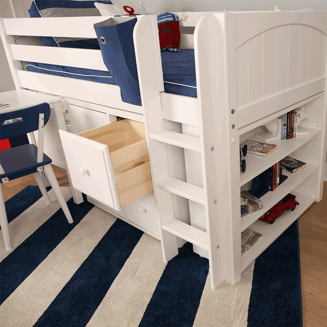 Twin Low Loft Bed with Straight Ladder, Storage + Desk
