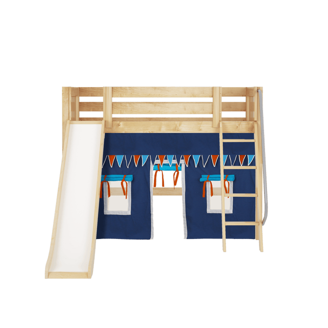 Twin Mid Loft Bed with Angled Ladder, Curtain + Slide