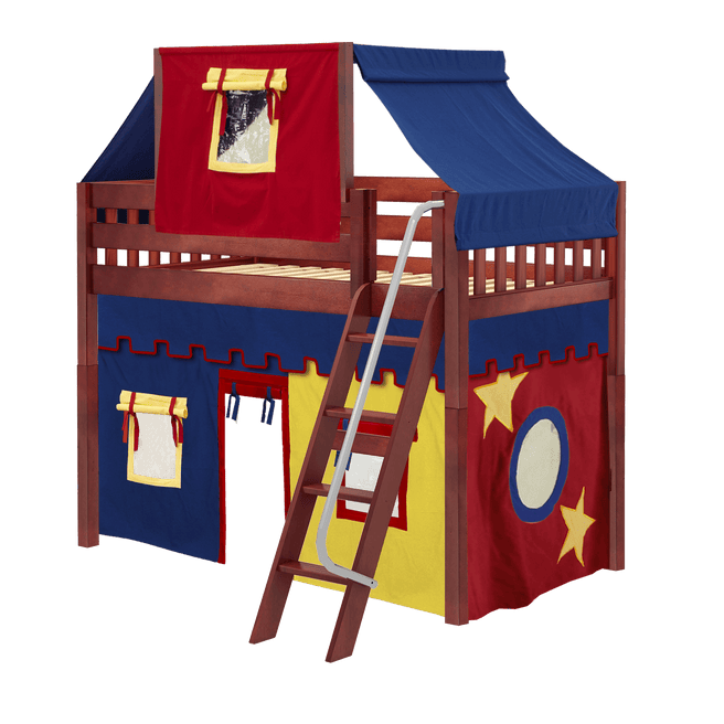 Twin Mid Loft Bed with Angled Ladder, Curtain + Top Tent