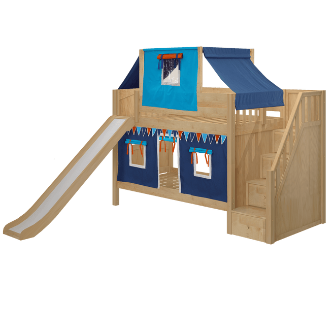 Twin Medium Bunk Bed with Angled Ladder, Curtain, Top Tent + Slide