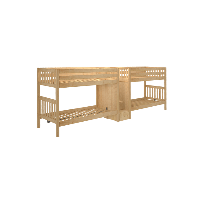 Twin XL Quadruple Bunk Bed with Stairs