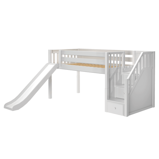 Twin Low Loft Bed with Stairs + Slide