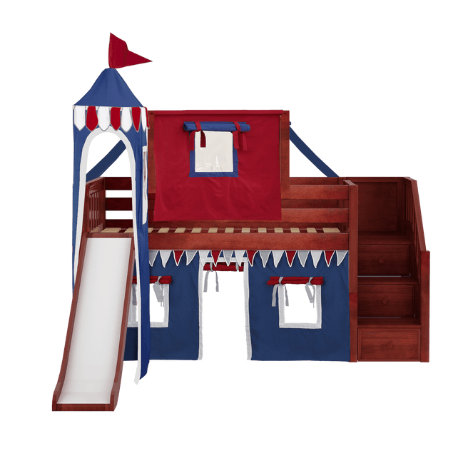 Twin Low Loft Bed with Stairs, Curtain, Top Tent, Tower + Slide