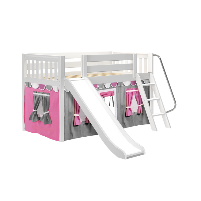 Twin Low Loft Bed with Angled Ladder, Curtain + Slide