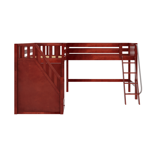 Twin Medium Corner Loft Bed with Ladder + Stairs - L