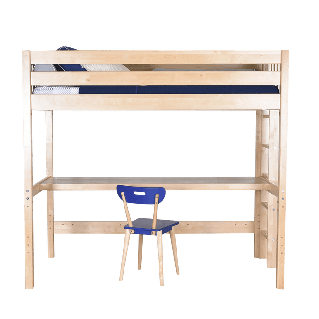 Queen High Loft Bed with Straight Ladder + Desk