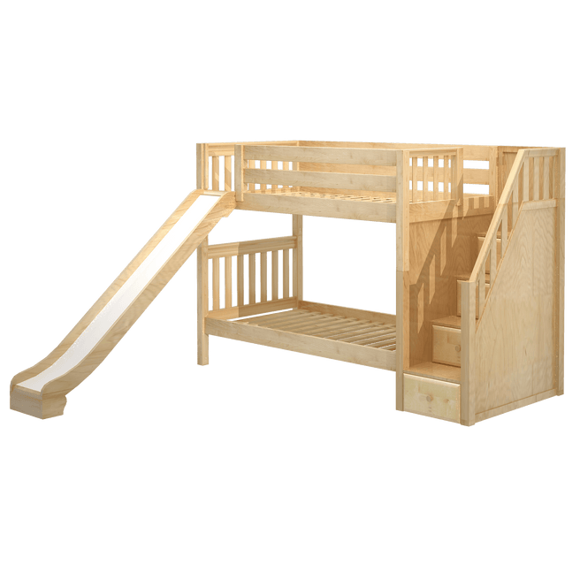 Twin Medium Bunk Bed with Stairs + Slide