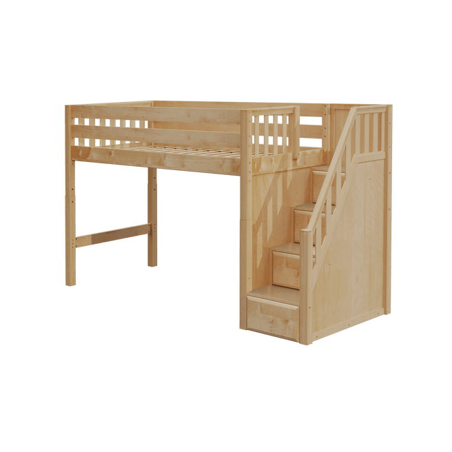 Twin XL Mid Loft Bed with Stairs