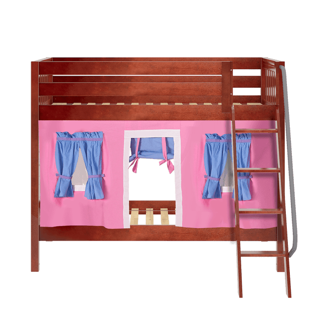 Twin Medium Bunk Bed with Angled Ladder + Curtain