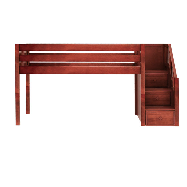 Twin Low Loft Bed with Stairs