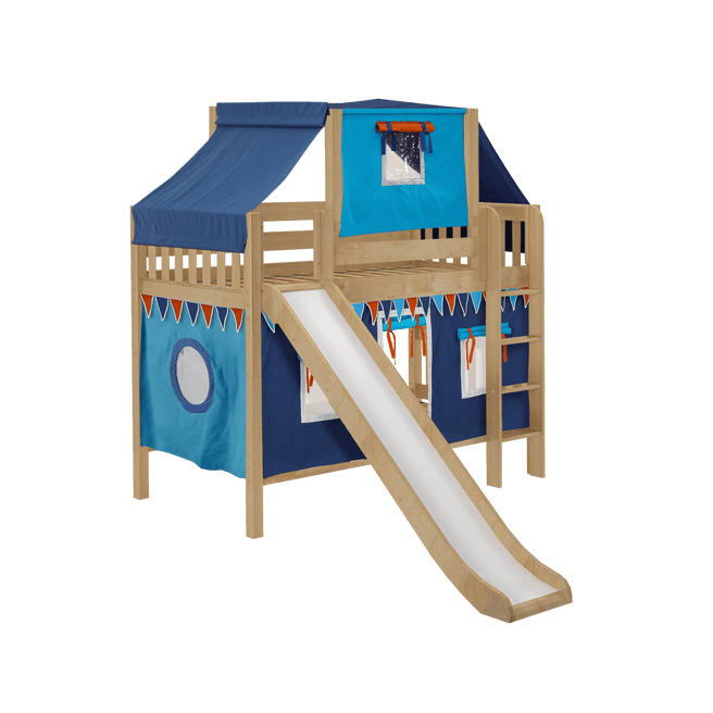 Twin Low Bunk Bed with Straight Ladder, Curtain, Top Tent + Slide
