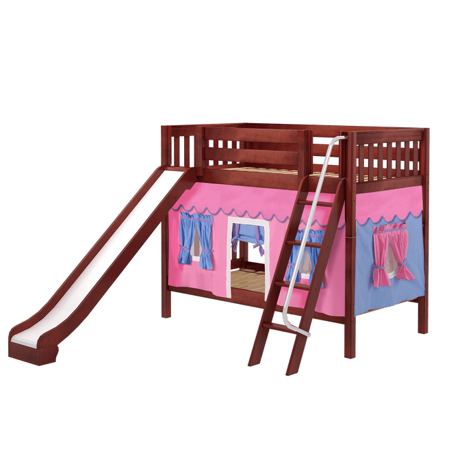 Twin Medium Bunk Bed with Angled Ladder, Curtain + Slide