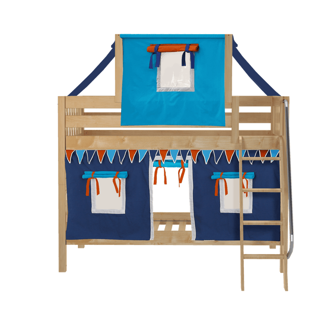 Twin Low Bunk Bed with Angled Ladder, Top Tent + Curtain