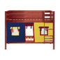 Twin Low Bunk Bed with Straight Ladder + Curtain