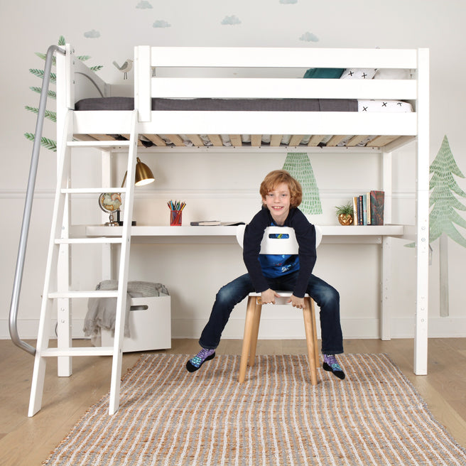 Twin High Loft Bed with Angled Ladder + Desk