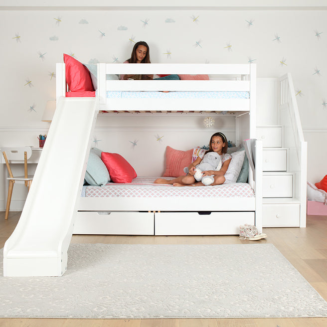 Medium Twin XL over Full XL Bunk Bed with Stairs + Slide