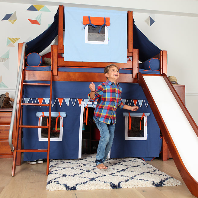 Twin Mid Loft Bed with Angled Ladder, Curtain, Top Tent + Slide