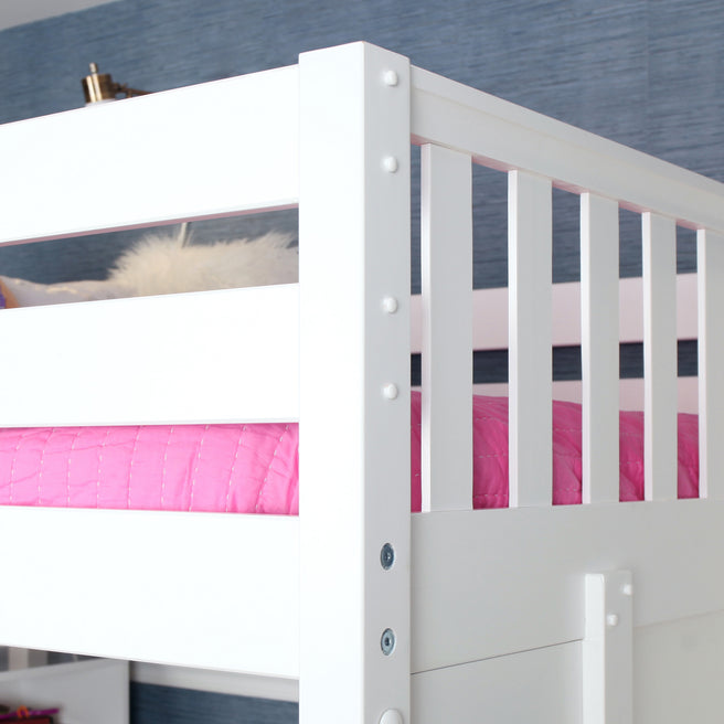 Full High Loft Bed with Stairs