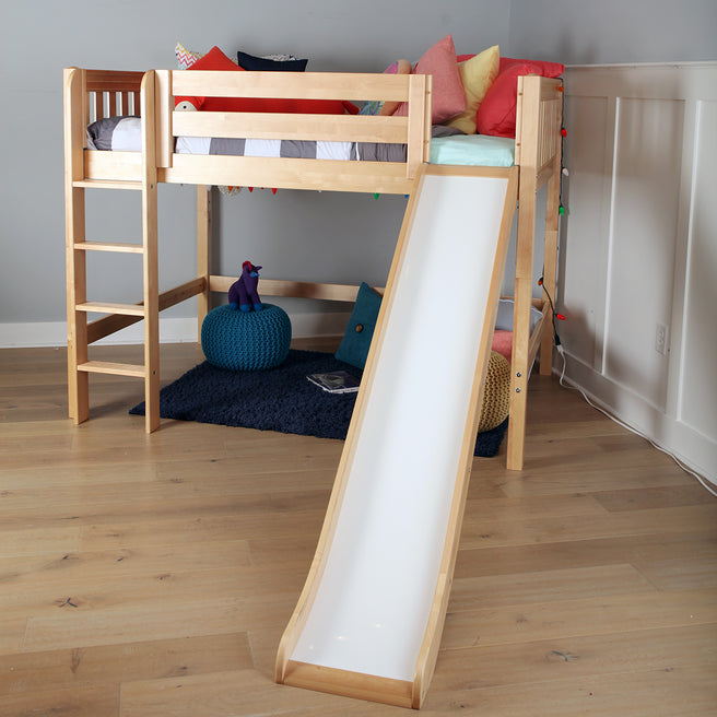 Full Mid Loft Bed with Slide