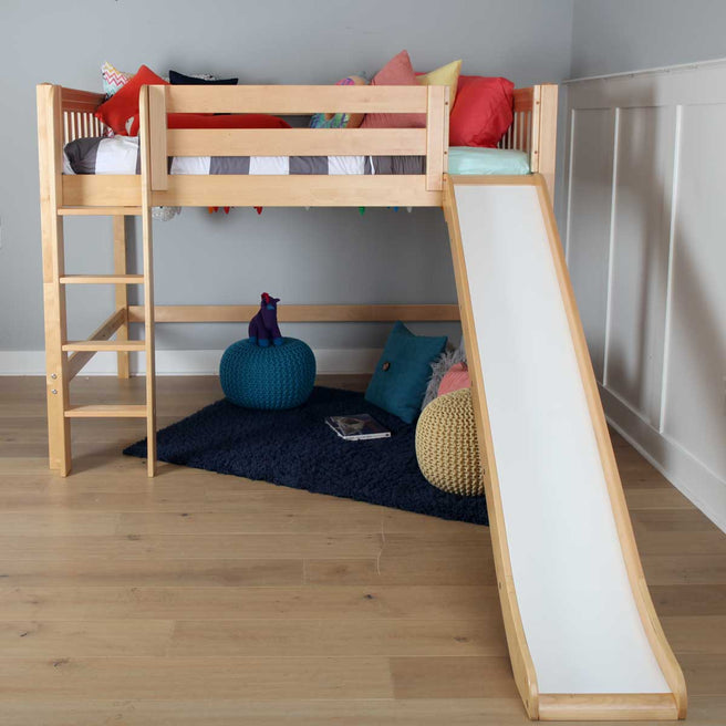 Twin Mid Loft Bed with Slide