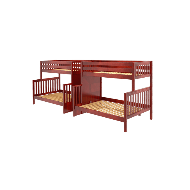 High Full XL over Queen Quadruple Bunk Bed with Stairs